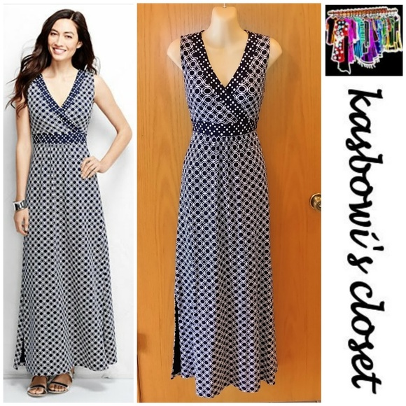 fc8df00d49f Lands  End Dresses   Skirts - LANDS  END Navy   White Checked Maxi Dress